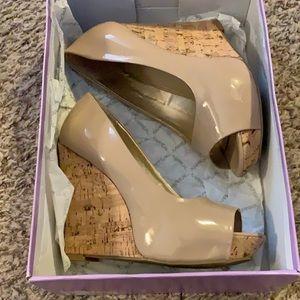 Nude wedges with cork heel